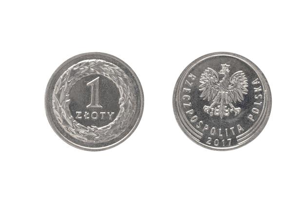 Деньги польской республики. монета 1 злотый на белой изолированной поверхности.
