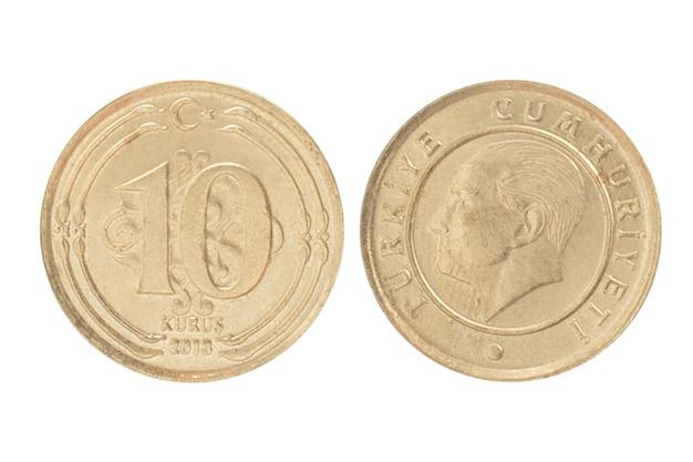 터키의 돈. 흰색 절연 된 표면에 10 엔 쿠루스 리라시 동전