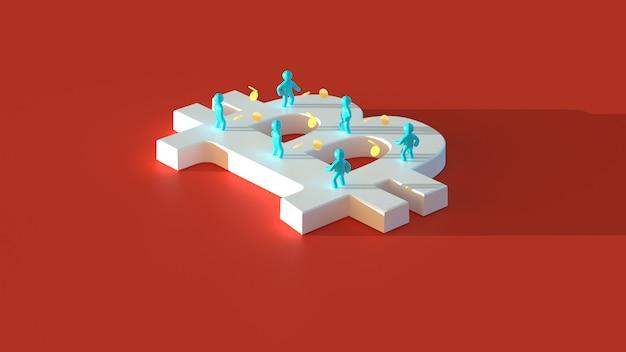 Деньги или биткойны - 3d иллюстрация