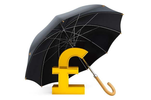 Money protection concept. golden pound sterling sign under umbrella on a white background