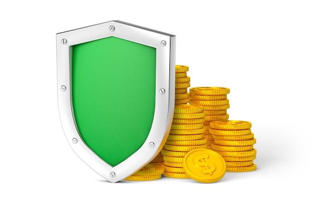 お金の保護。緑の盾とコイン。白い背景で隔離。 3dレンダリング。