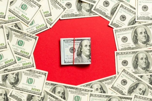 Money on a red bright background