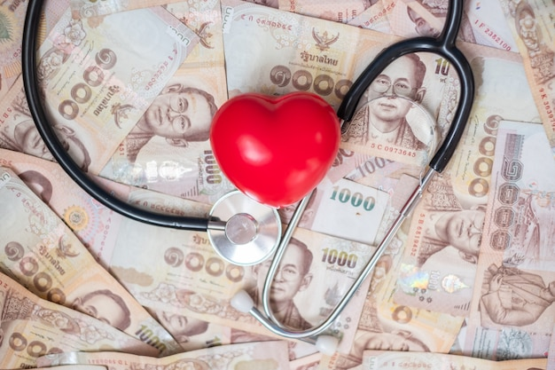 Money, red heart shape and cardiology stethoscope