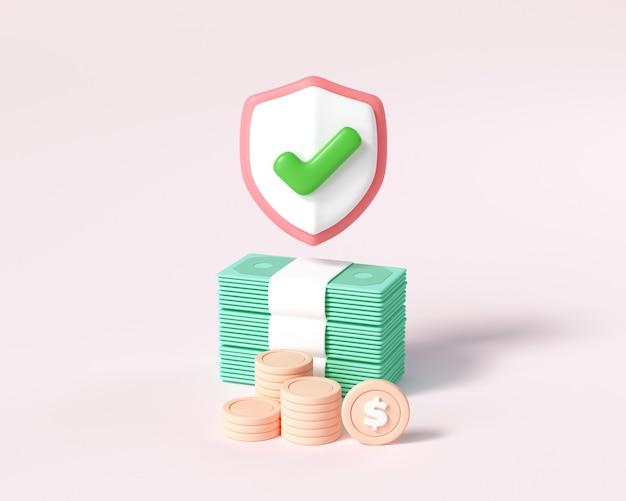 お金を節約するコンセプト。ピンクの背景にコインスタックとお金の束。 3dレンダリングイラスト