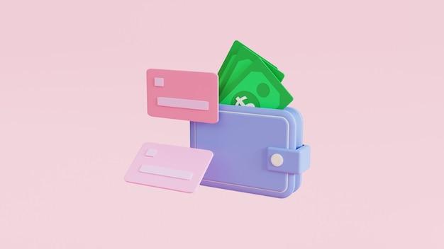 Концепция значок экономии денег. кошелек голубой и кредитной карты 3d иллюстрация
