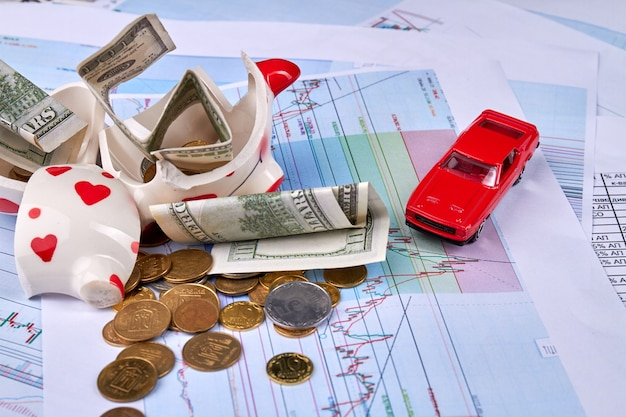 Money savings for a new car concept with broken piggy bank