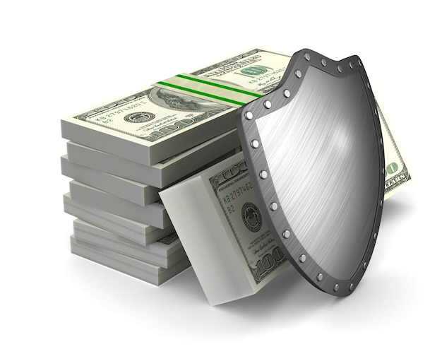 Money and shield on white