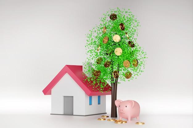 コインと葉のある金のなる木、モデルの家と貯金箱の周りに落ちるコイン、3dレンダリング。