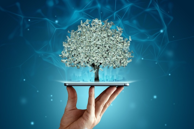 A money tree with dollars instead of leaves grows from a smartphone, work online