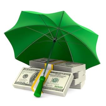 Деньги под зонтиком изолированные