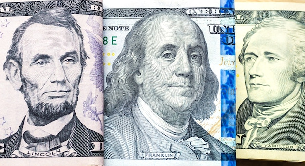 Money us dollar bills in closeup photography with flat view