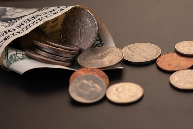 Money, us dollars bank notes, penny, nickel, dime. finance and economy concept.