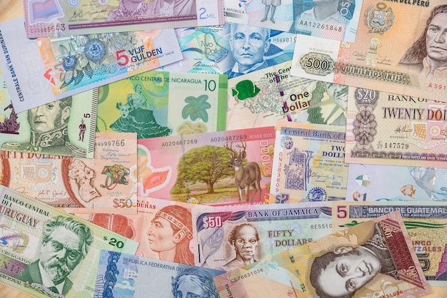 Money various countries of america.