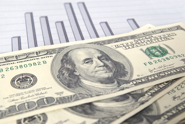 Money with chart can be used for financial concept