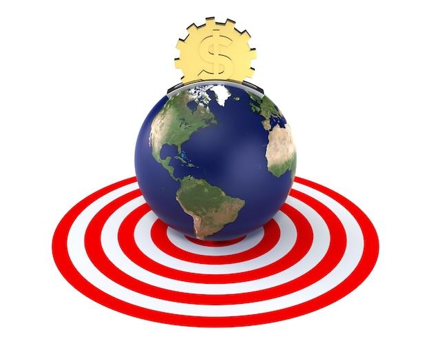 Копилка в виде земли и монеты золотой доллар