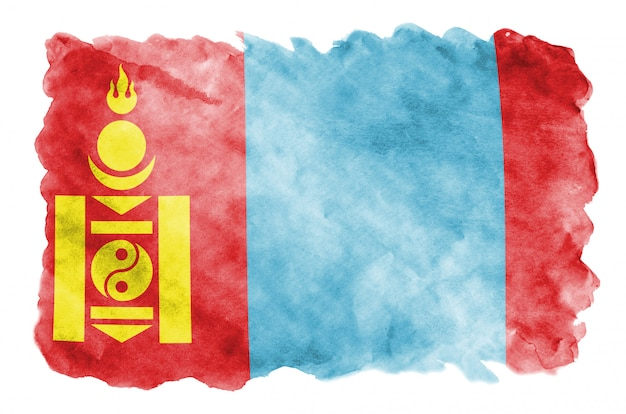 Mongolia flag is depicted in liquid watercolor style isolated on white