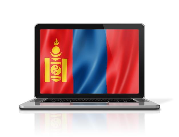 Mongolia flag on laptop screen isolated on white. 3d illustration render.