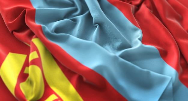Mongolia flag ruffled beautifully waving macro close-up shot