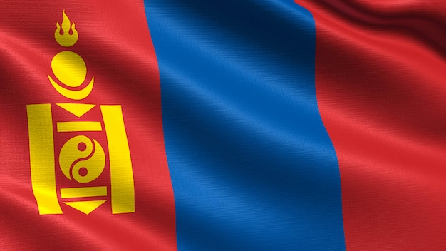 Mongolia flag, with waving fabric texture