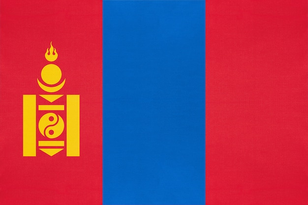 Mongolia national fabric flag textile background, symbol of world asian country ,
