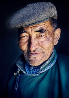 Mongolian man in traditional dress.