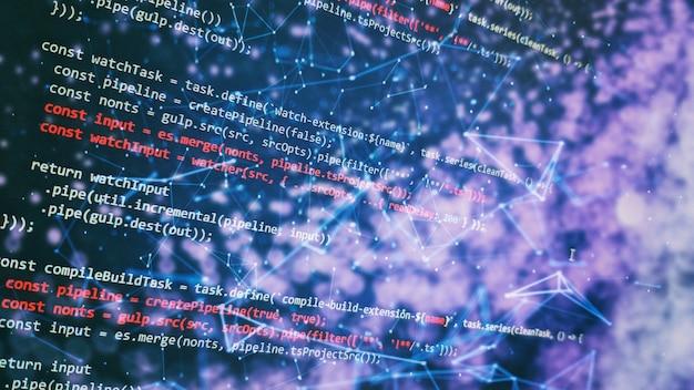 함수 소스 코드의 근접 촬영을 모니터링합니다. 추상 it 기술 배경입니다. 소프트웨어 소스 코드.