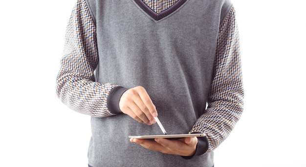 Monitorare uomo touchpad fronte internet
