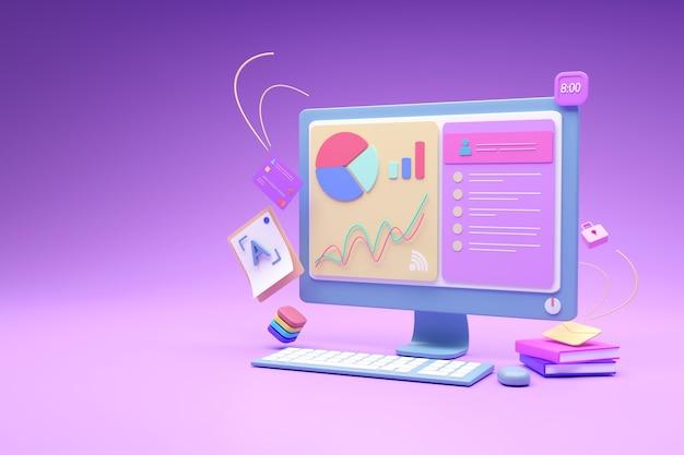 그래프 분석 웹 사이트 온라인 마케팅 개발 개념, 3d 렌더링 모니터