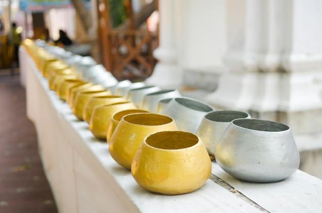 Monk's alms bowl, buddhist thailand.