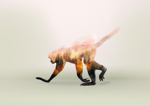 Monkey on fire