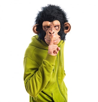 Monkey man making silence gesture