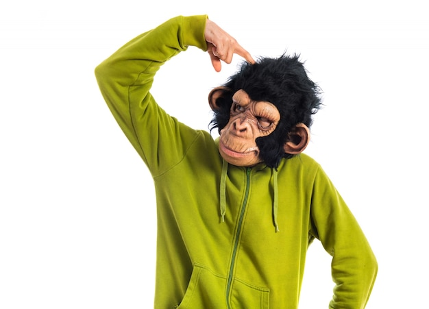 Monkey man thinking over white background