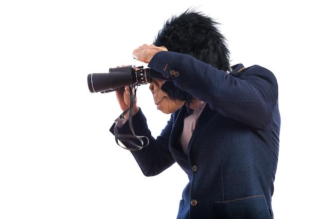 Monkey man with binoculars