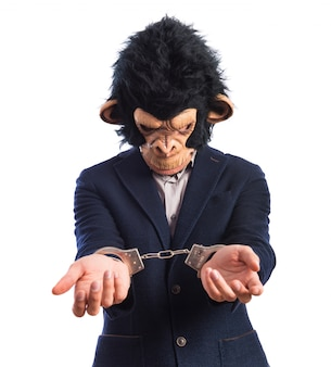 Monkey man with handcuffs
