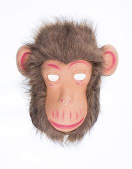 흰색 배경에 고립 된 원숭이 마스크