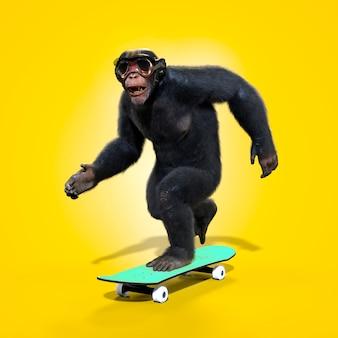 노란색 배경, 3d 일러스트와 함께 스케이트 보드를 재생하는 원숭이