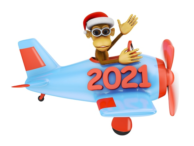 Monkey with glasses on a blue airplane with an inscription 2021. 3d render.