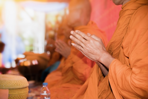 The monks are chanting a buddhist ritual in it, ecclesiastic