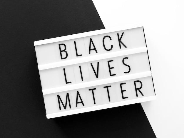 Monochromatic black lives matter movement message