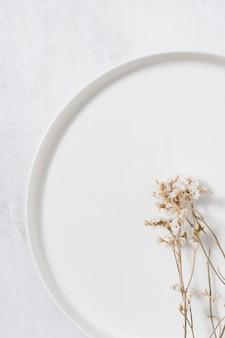 乾いた植物との単色の静物画の配置