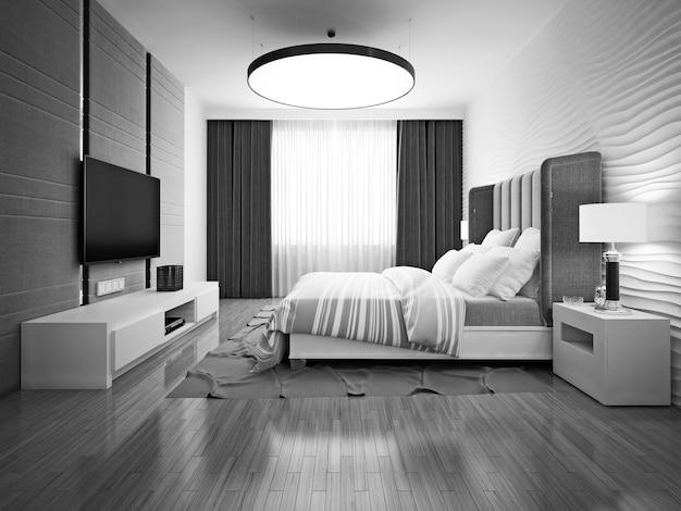 モノクロのアールデコ調のベッドルーム。