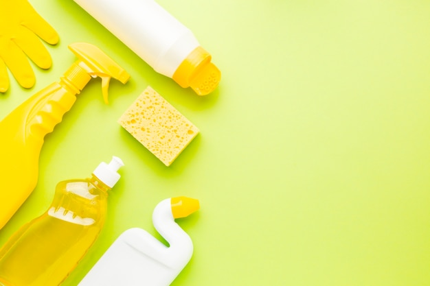Monochrome cleaning products with copy space