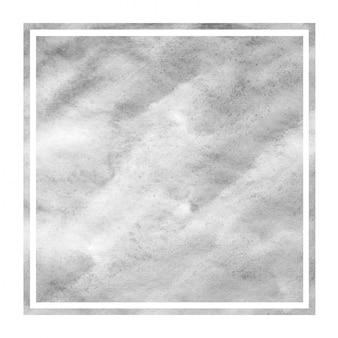 Monochrome hand drawn watercolor rectangular frame
