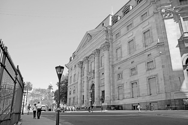 Monochrome image of buenos aires downtown with bank of the argentine nation argentina
