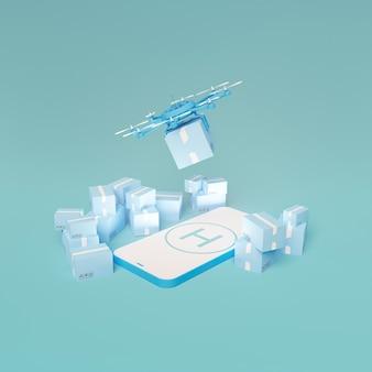 パッケージが周りにあり、ドローンが離陸している携帯電話のモノクロモックアップ