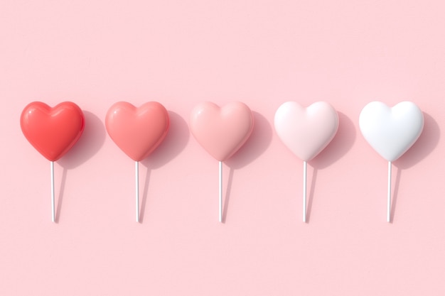 Monochrome red color tone of heart shapes candy concept idea on pink background. 3d render. valentine concept idea.