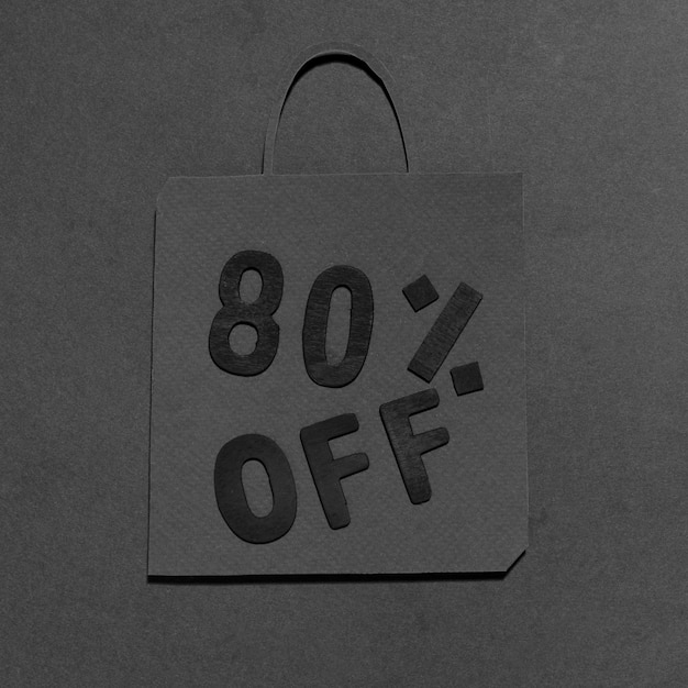 Monochrome shopping bag with 80% discount