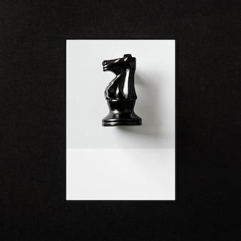 Monochrome shot of a knight chess piece