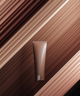 化粧品bbクリーム製品のプレゼンテーションのための単色シーン。裸の色の台座の抽象的な背景の化粧品の瓶。 3dレンダリング。