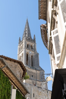Monolithic church street view in city center france